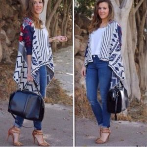 South Western Aztec Open Drape Cardigan Sweater